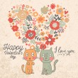 Valentine's day card with cats — Stock Vector #75032059