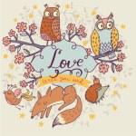 Romantic cartoon forest animals — Stock Vector #75035307