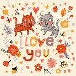 Romantic floral card with cats — Stock Vector #75032005