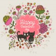 Happy Valentines day card with cats — Stock Vector #75032939