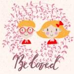 Cute cartoon couple love card — Stock Vector #75033763