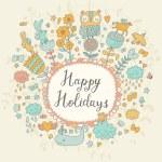 Happy holidays cartoon floral card — Stock Vector #75034859