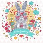 Easter card with cartoon rabbit — Stock Vector #75034891