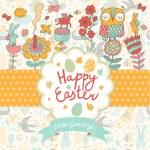 Happy Easter cartoon card — Stock Vector #75034893