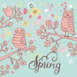 Spring cartoon card with birds — Stock Vector #75035089