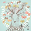 Spring card with deer in butterflies — Stockvektor  #75036511