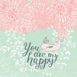 Flowers and whale cartoon card — Stock Vector #75036939