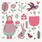 Birds and animals cartoon set — Stock Vector #75037577