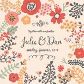Floral wedding invitation card — Stock Vector