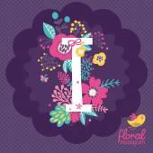 Floral κάρτα με γράμμα I — Διανυσματικό Αρχείο