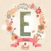 Κομψό floral γράμμα E — Διανυσματικό Αρχείο