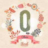 Stylish floral letter O — Stock Vector