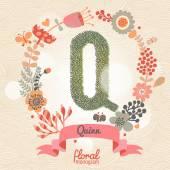 Κομψό floral γράμμα Q — Διανυσματικό Αρχείο