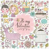 Valentines day cartoon card — Stock Vector
