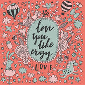 Romantic cartoon love card — Stock Vector