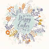 Happy Easter floral card — Stock vektor