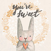 Sweet rabbit with heart card — Vettoriale Stock