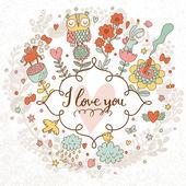 I love you romantic card — Stock Vector