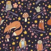 Animals, birds cartoon pattern — Stock Vector