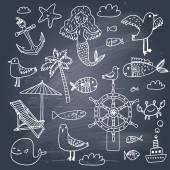 Vacation icons cartoon pattern — Vetor de Stock