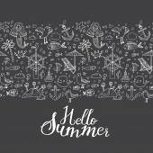 Summer, holiday icons pattern — Vetor de Stock