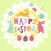 Cartoon happy easter card — Stock Vector