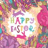 Happy easter card with rabbits — Vector de stock