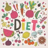 Lovely diet  vegan concept — Stock Vector