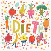 Vegan diet concept card — Stock Vector
