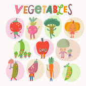 Lovely cartoon vegetables set — Stock Vector