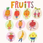 Sweet fruits and berries set — Stock Vector