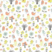 Tecknade färgmönster med fåglar — Stockvektor
