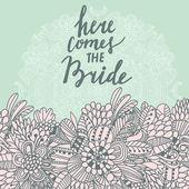 Wedding floral cartoon card — Stock Vector