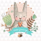ウサギとイースター カード — ストックベクタ