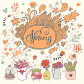 Beautiful floral spring card — Stock Vector