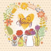 Spring flowers card background — Stock Vector