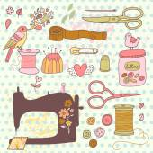 Needlework, sewing  concept cartoon set — Stock Vector
