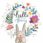 Spring card with cartoon rabbit — Stock Vector