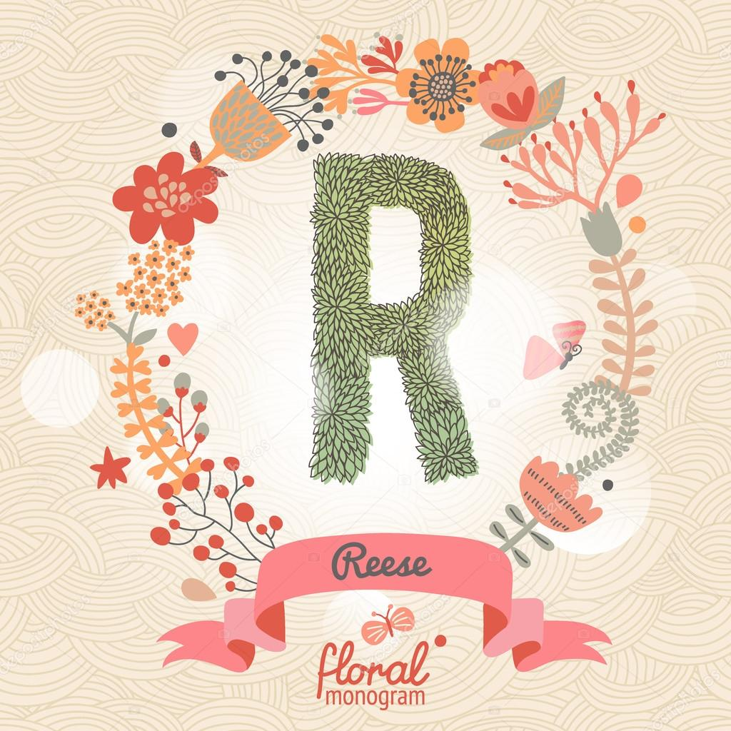 Stylish letter R can be used for posters  cards  invitations  blogs   websites  backgrounds   Vector by smilewithjul. Stylish floral letter R   Stock Vector   smilewithjul  75031091