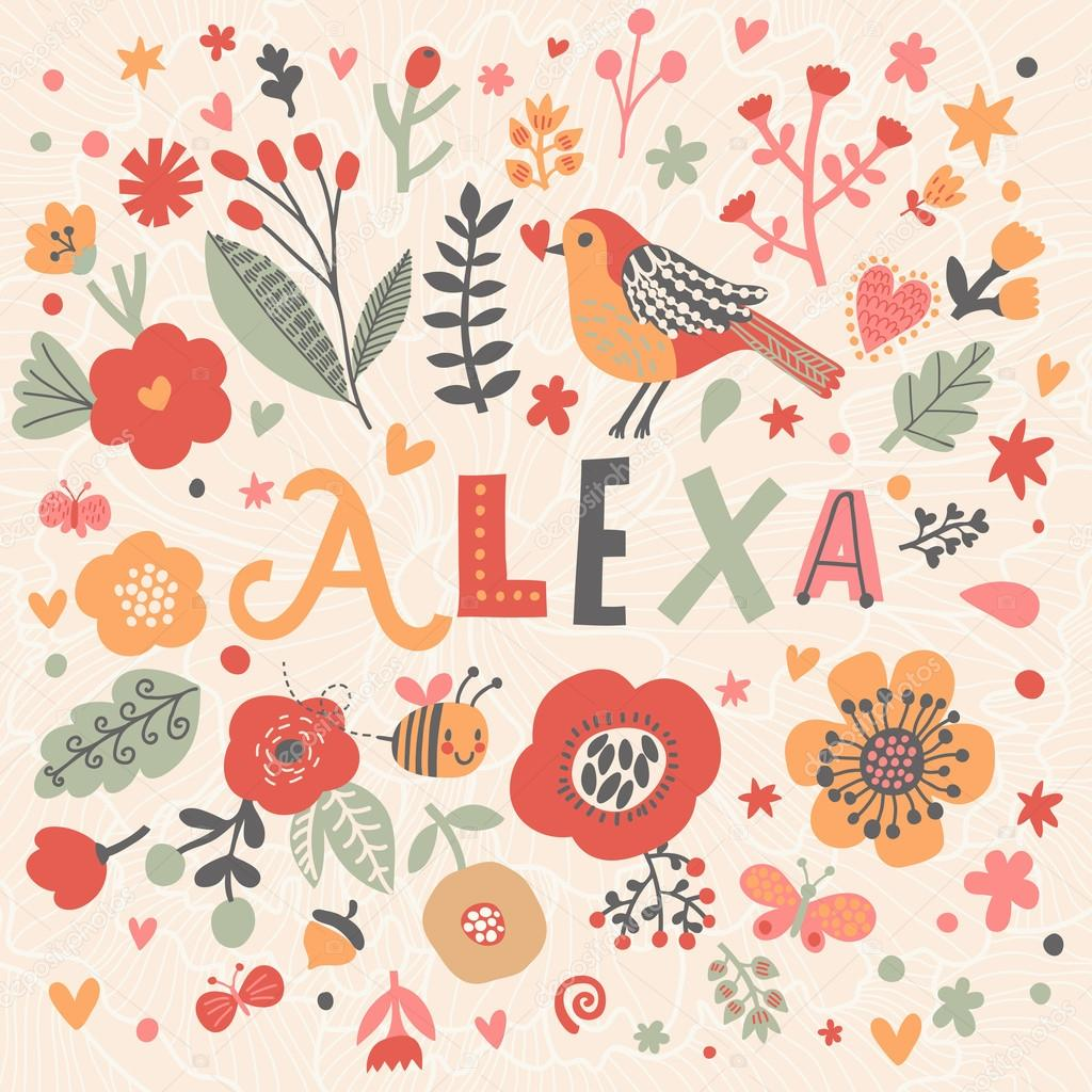 Descargar hermosa tarjeta floral con nombre alexa ilustraci 243 n