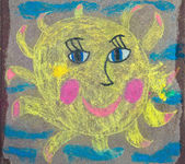 Children's drawing of sun with chalk — Stock Photo
