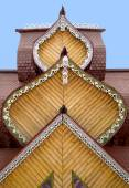Roof with carved platbands — Stock Photo