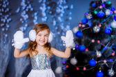 Pretty girl in New Year's dress — Stock Photo