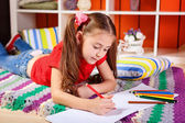 Girl drawing with pencils — Stock Photo