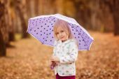 Girl with  umbrella in the autumn park — Stock Photo