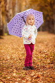 Girl with  umbrella in the autumn park — Стоковое фото