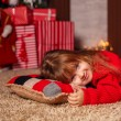 Little girl with New Year presents — Stock Photo #58901559