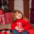 Little girl with New Year presents — Stock Photo #58901685