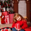 Little girl with New Year presents — Stock Photo #58901779