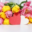 Beautiful tulips and greeting card — Stock Photo #64393951